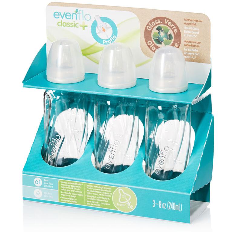 Evenflo Classic Glass + Vented Bottles 8oz 3-Pack
