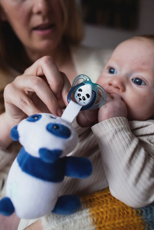 Paci-Snuggie Stuffed Animal with Two Pacifiers, 0-6 months - Panda