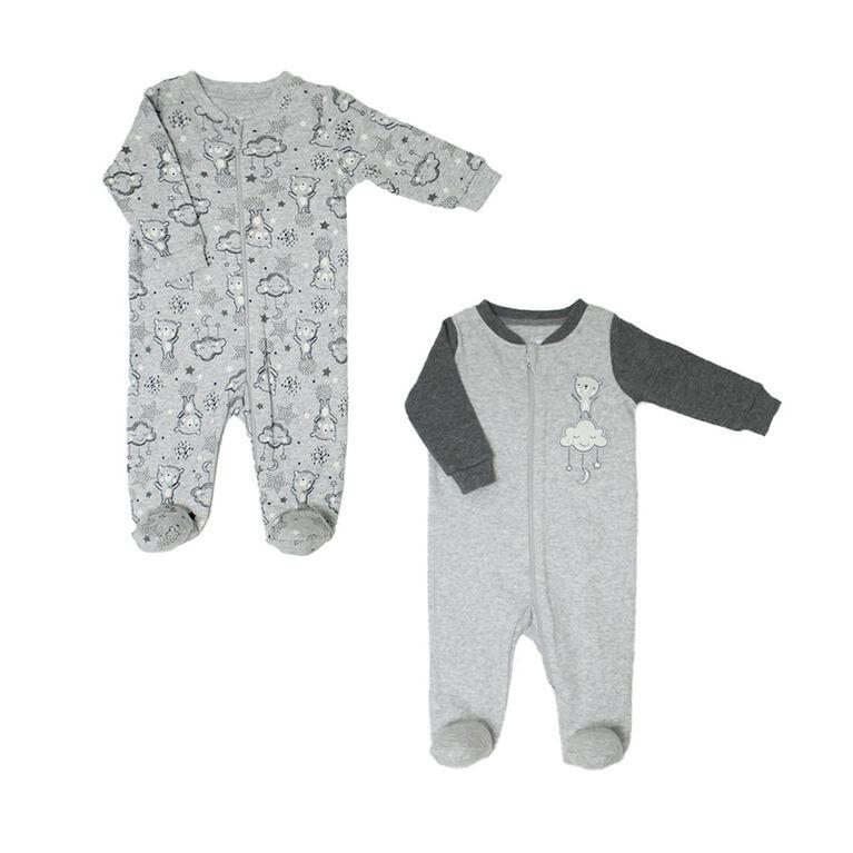 Koala Baby Neutral 2 Pack Sleeper - Bears Grey, Preemie