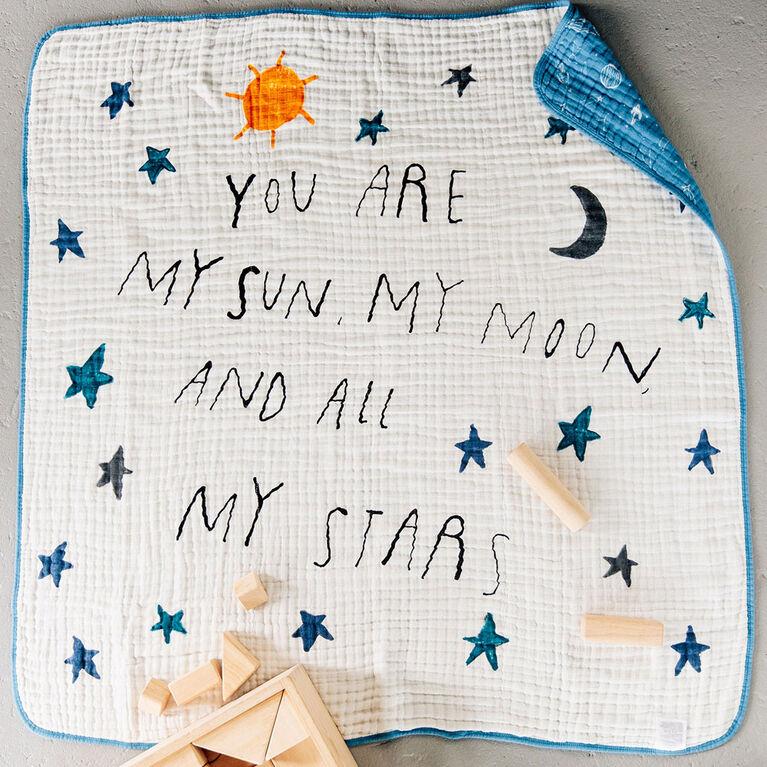 Couette en Mousseline de Coton Red Rover - Sun Moon Stars - Notre exclusivité