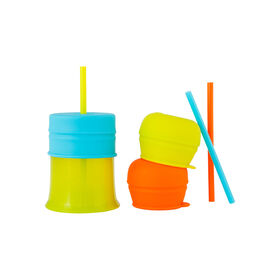 Boon Snug Straw Universal Lid and Cup Set - Green/Blue/Orange