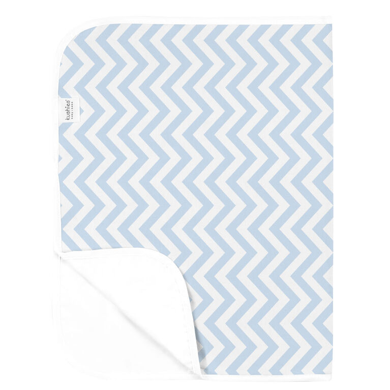 Kushies Portable Changing Pad Liner Flannel Blue Chevron