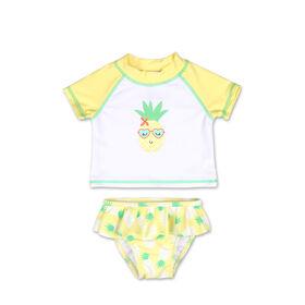 Ensemble 2pièces dermoprotecteur Koala Baby à manches longues à motif ananas jaune, 6 - 9 mois