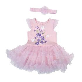 Rococo Tutu Dress and Headband - Pink, 0-3 Months
