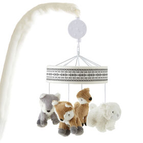 Levtex Baby Bailey Taupe and Grey Woodland Themed Plush Musical Mobile