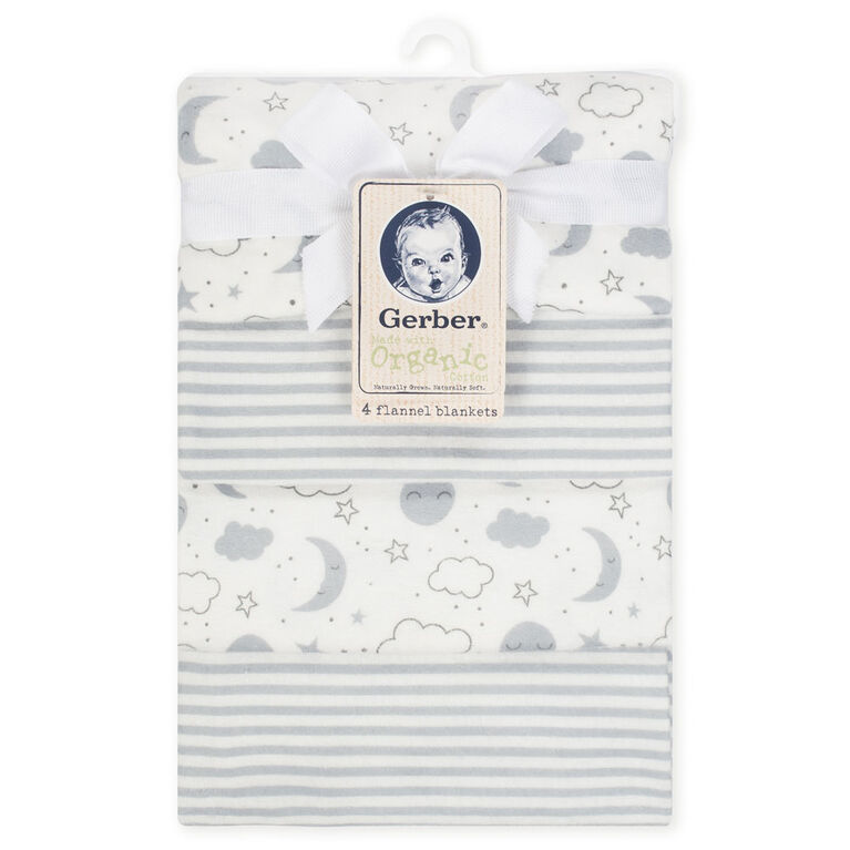 Paquet de 4 couvertures en flanelle biologique de Gerber, nuages et rayures.