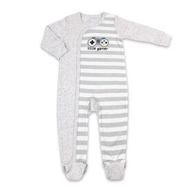 Koala Baby Cotton Sleeper Light Grey Stripe w/ Heather Grey - Little Gamer, 3-6 Months