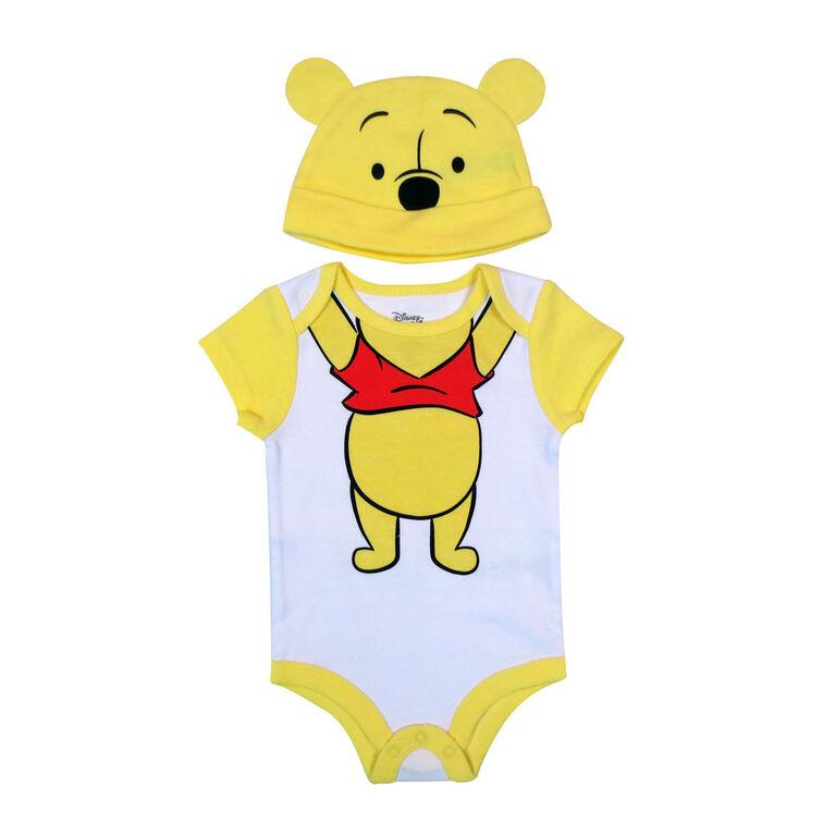 Disney Winnie the Pooh Bodysuit with Hat - Yellow, 6 Months