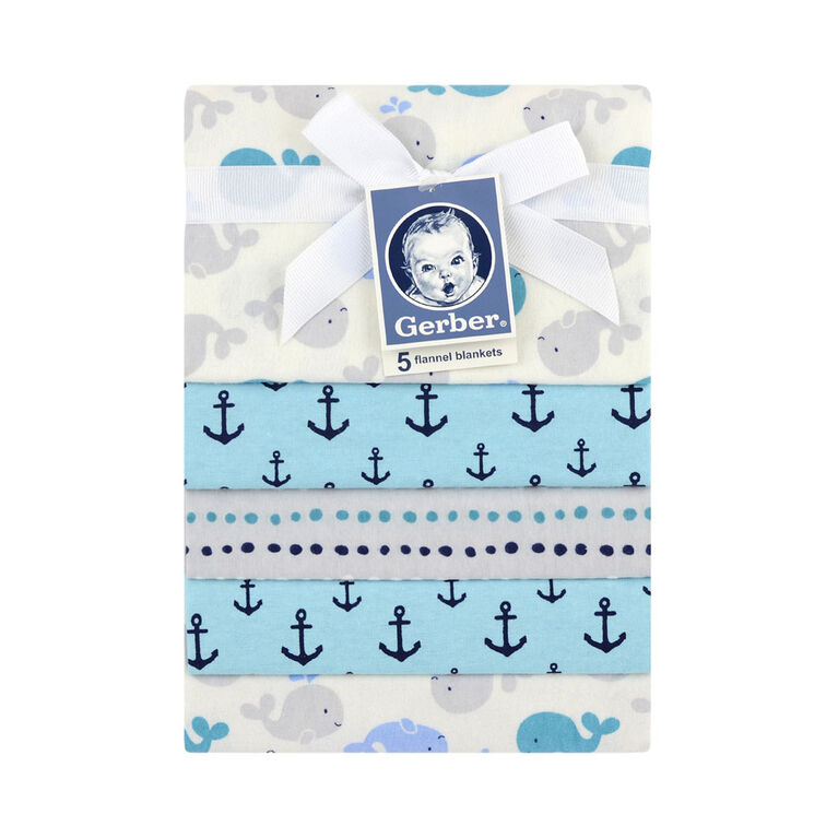 Gerber 5-Pack Nautical Flannel Receiving Blankets
