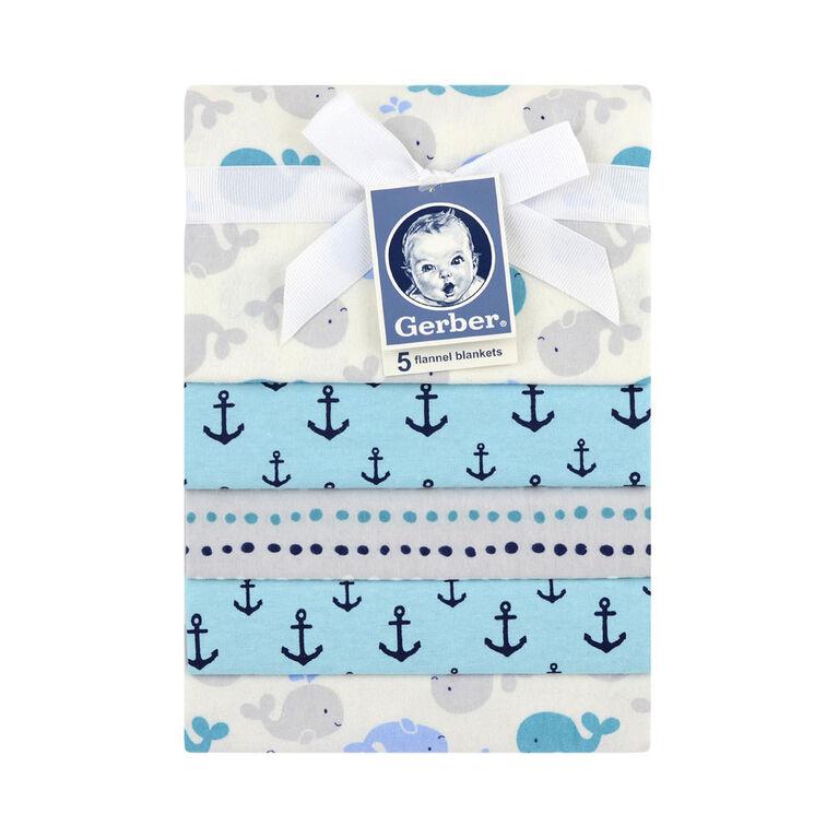 Emballage de 5 couvertures de flanelle de Gerber – nautique.