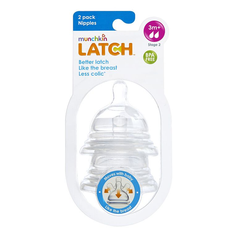 Munchkin - LATCH Stage 2 Nipple for 3+ Months, 2-Pack