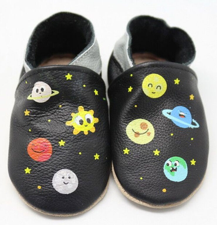 Tickle-toes Black Planets 100% Soft Leather Shoes 18-24 mois