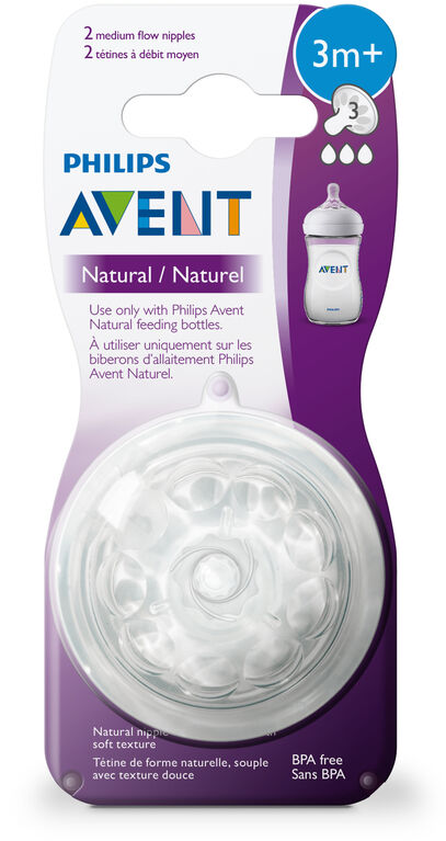 Philips Avent Natural Baby Bottle Nipple, Medium Flow Nipple 3M+ - 2-Pack