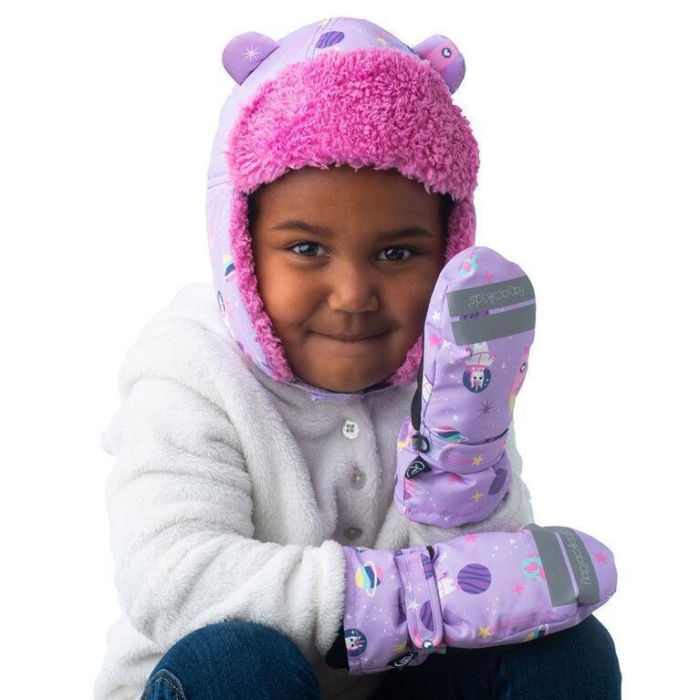 FlapJackKids - Bébé, tout-petit, enfants, filles - chapeau de trappeur hydrofuge - Doublure Sherpa - Licorne / Lilas - Petit 6-24 mois