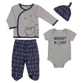 Ensemble 4 Pièces Mickey Mouse de Disney - Bleu, Nouveau née