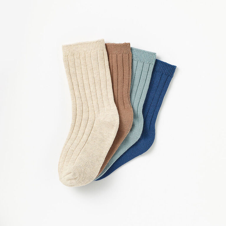 classic ribbed crew socks, 4-5y - blue