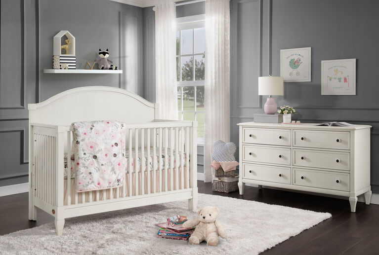 Oxford Baby Elizabeth 4 in 1 Convertible Crib Vintage White - R Exclusive