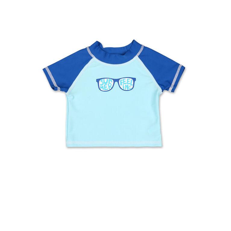 Tee-shirt manches courtes dermoprotecteur Koala Baby bleu lunettes de soleil 6-9 mois