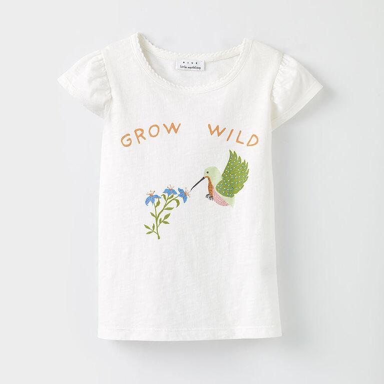 18-24m t-shirt à manches volantées - imprimé blanc
