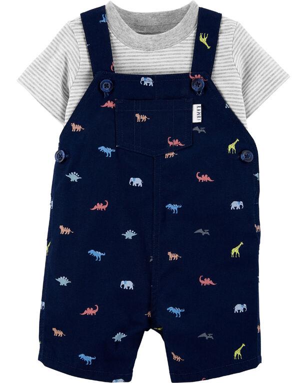 Ensemble 2 pièces t-shirt rayé et salopette courte à dinosaure Carter's – marine/gris, 12 mois