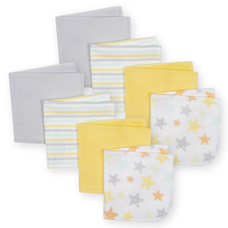 Koala Baby 8-Pack Washcloth, Yellow Star