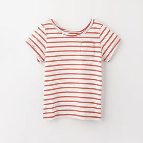 simple roll-sleeve pocket tee, 12-18m - clay stripe