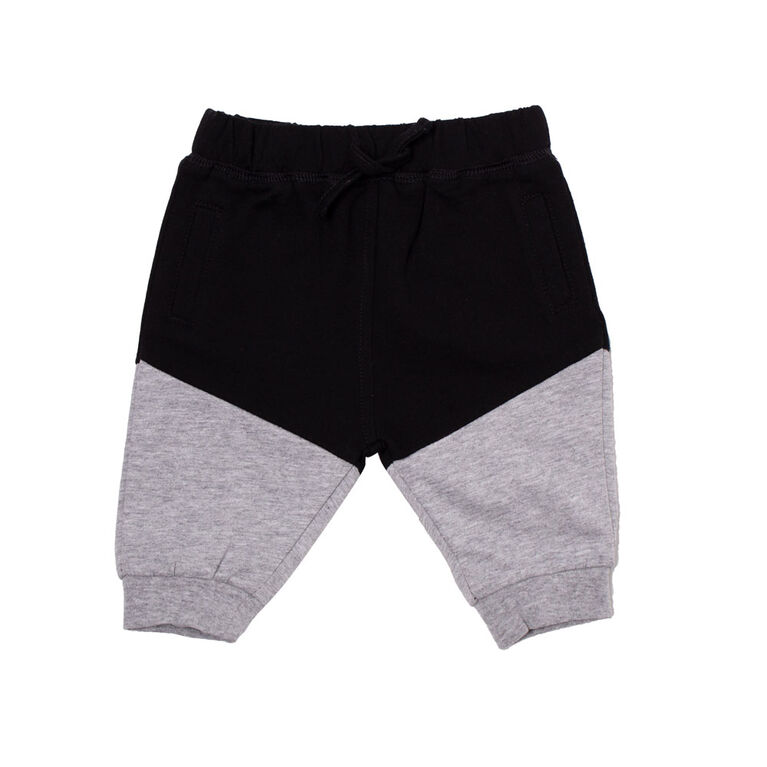 Koala Baby Boys Cotton French Terry Jogger Pants With Pocket and Drawstring Black&Grey 12-18M
