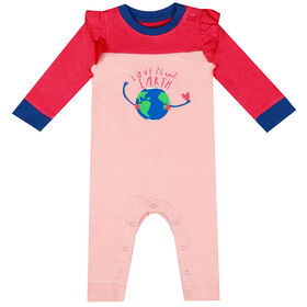 earth by art & eden - Maya Coverall Fleece Coverall - Crystal Rose, 6 Months