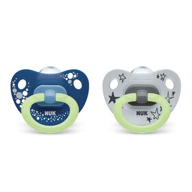 NUK Glow-in-the-Dark Orthodontic Pacifiers, 6-18 Months, 2-Pack