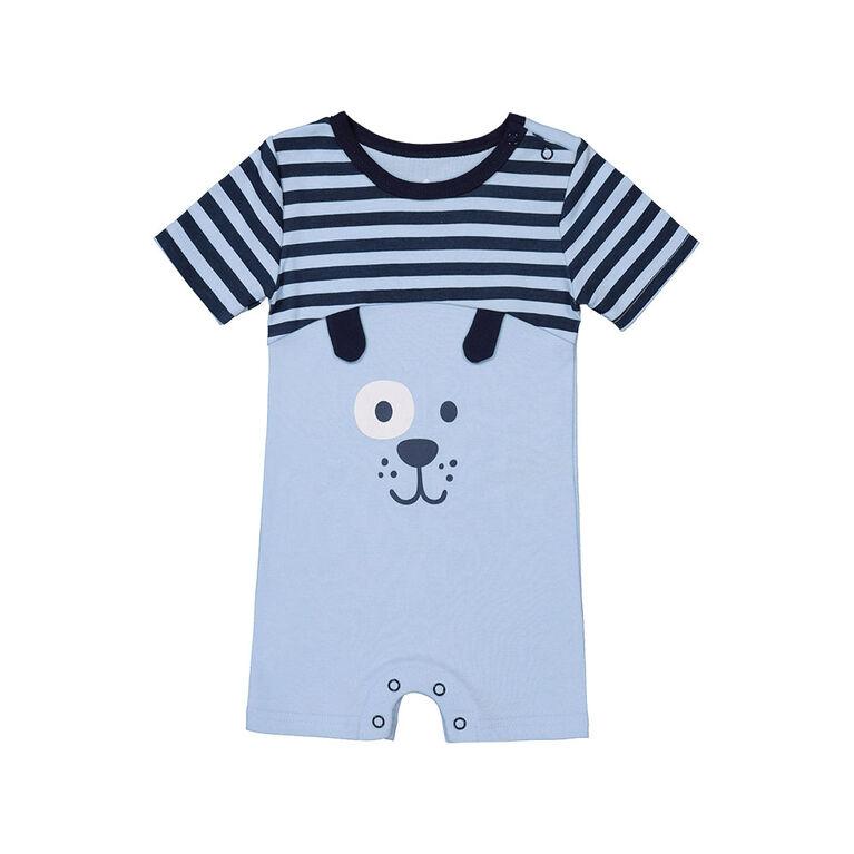 Snugabye Boys - Short Sleeve Romper - Dog Face Blue/White Stripe 12-18 Months