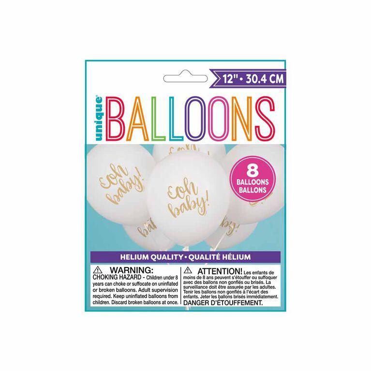 """Oh Baby"" 12"" Ballons, 8un - Édition anglaise"