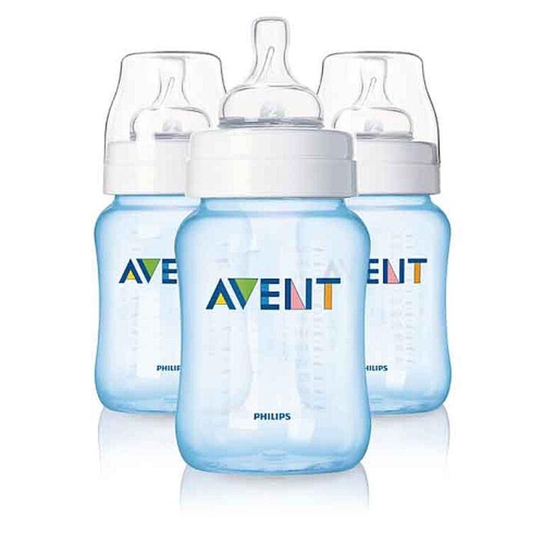 Philips AVENT - BPA Free Classic 9 Ounce Polypropylene Bottles, Blue, 3-Pack