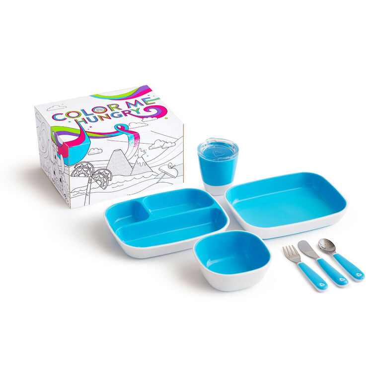 Munchkin Color Me Hungry Splash Dining Set- Blue