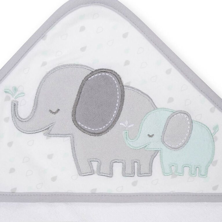 Koala Baby Hooded Towel and Washcloth Set, Grey Elephant