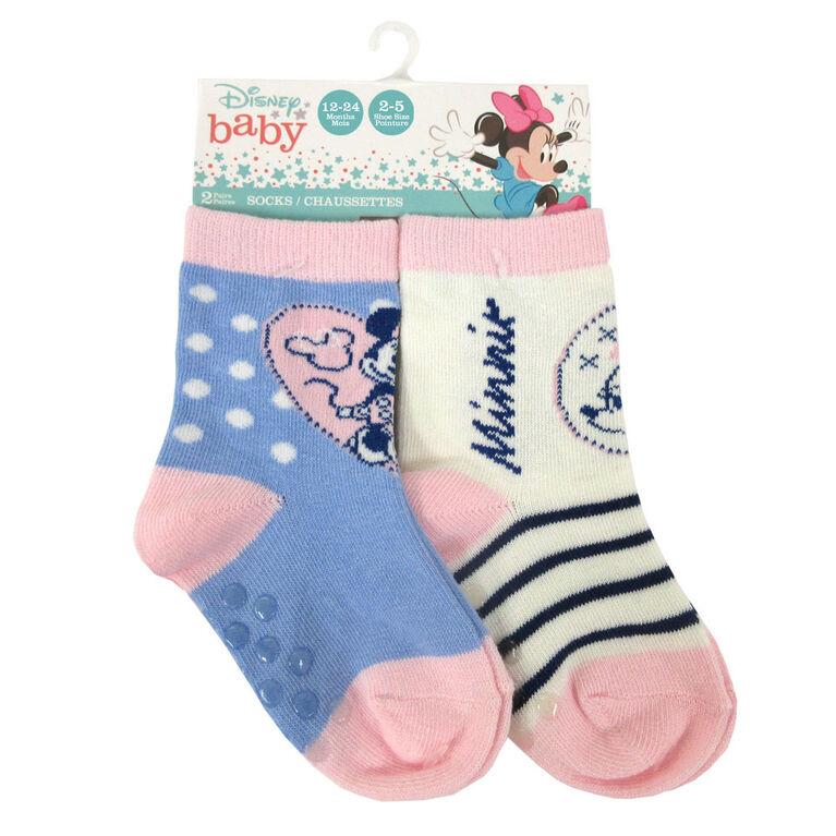 Disney - 2 Pack Crew Sock - Minnie, Blue, 12-24M
