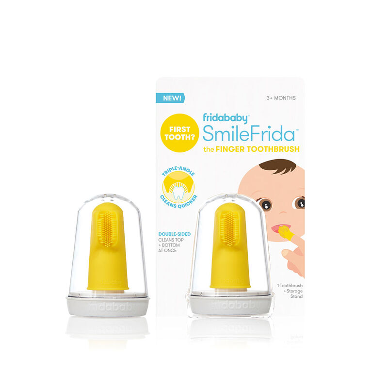 Fridababy - SmileFrida the Finger Brosse à dents - Première brosse à dents pour bébé avec étui, silicone, sans BPA