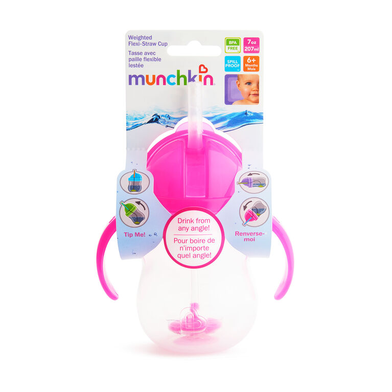Munchkin Click-Lock 7oz Weighted Straw Cup  - 1pack - Pink
