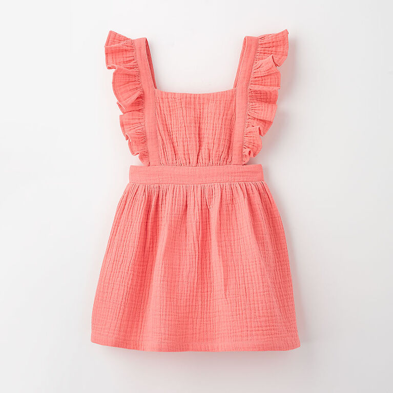 pinafore party dress, 12-18m - pink