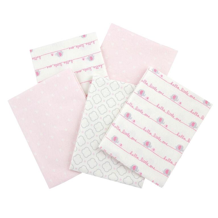 Emballage de 5 couvertures de flanelle de Gerber – rose.