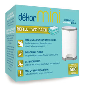 Dekor Diaper Pail Mini Refill - 2 Pack Biodegradable
