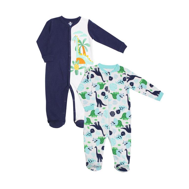 Koala Baby Boys 2-Pack Sleeper- 'Dinosaur' Blue, White 0-3 Months