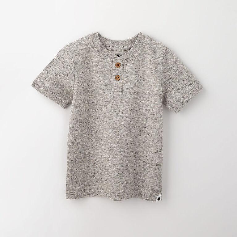 18-24m haut henley à manches courtes - gris texturé