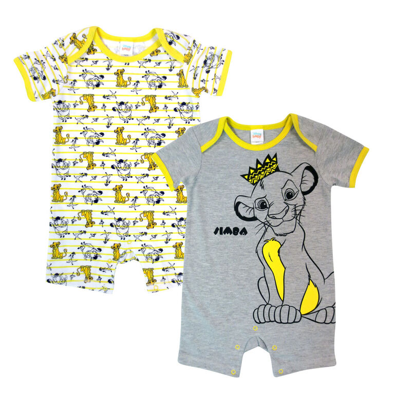 Disney Lion King 2PK Romper - Grey, 6 Months