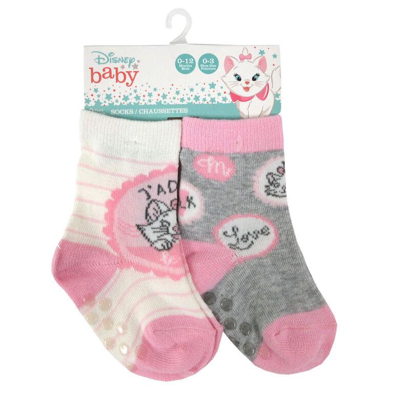 Disney - 2 Pack Crew Sock - Marie, Pink, 12-24M