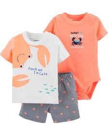 Carter's 3-Piece Crab Diaper Cover Set - Orange/White, 9 Months