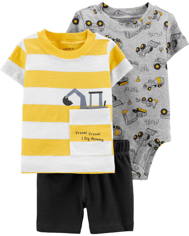 Carter's 3-Piece Construction Diaper Cover Set - Yellow/Grey, 9 Months