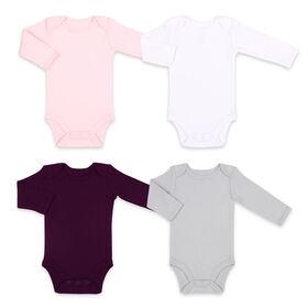 Koala Baby 4Pk Long Sleeve Bodysuit Solid Pink Combo, 3-6 Months