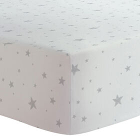Kushies Crib Sheet Flannel Grey Scribble Stars