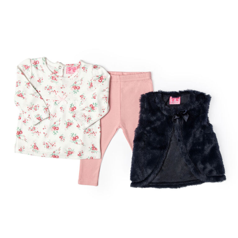 Mini Moi - Girls 3 Piece Vest Set: Floral - 3-6 Months