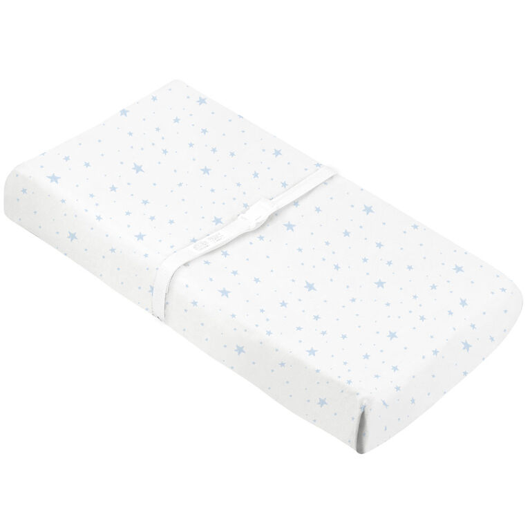 Kushies Baby Contour Change Pad Cover Flannel Blue Scribble Stars